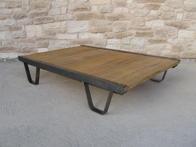 Table basse ancienne palette d 39 atelier industriel d 39 or et d 39 avant - Table atelier industriel ...