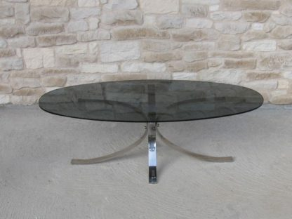 table basse chrome verre