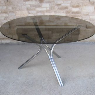 table chrome verre fumé