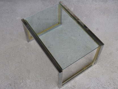 table basse chrome verre laiton